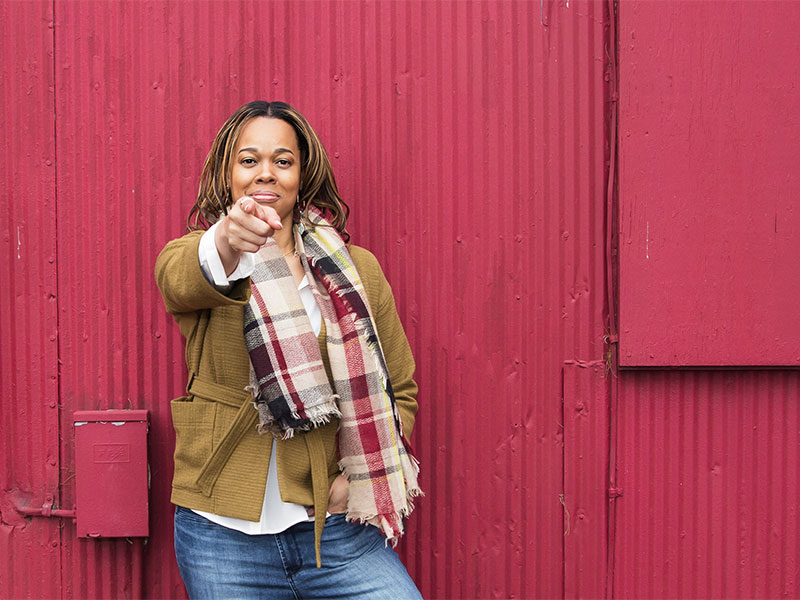 Therapist and Counselor Personal Branding Photoshoot Outside on Red Wall in Fairfax City VA