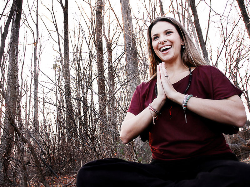 Yoga Instructor Personal Branding Photoshoot Outside at Brookside Gardens in Silver Spring MD