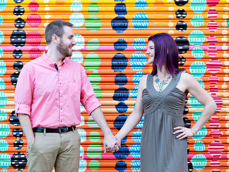 Couples Portrait Session at the Torpedo Factory Bead Wall in Old Town Alexandria VA